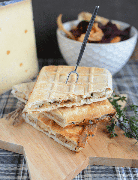 Chicken Croq'waffles with Gruyère France and wholegrain mustard