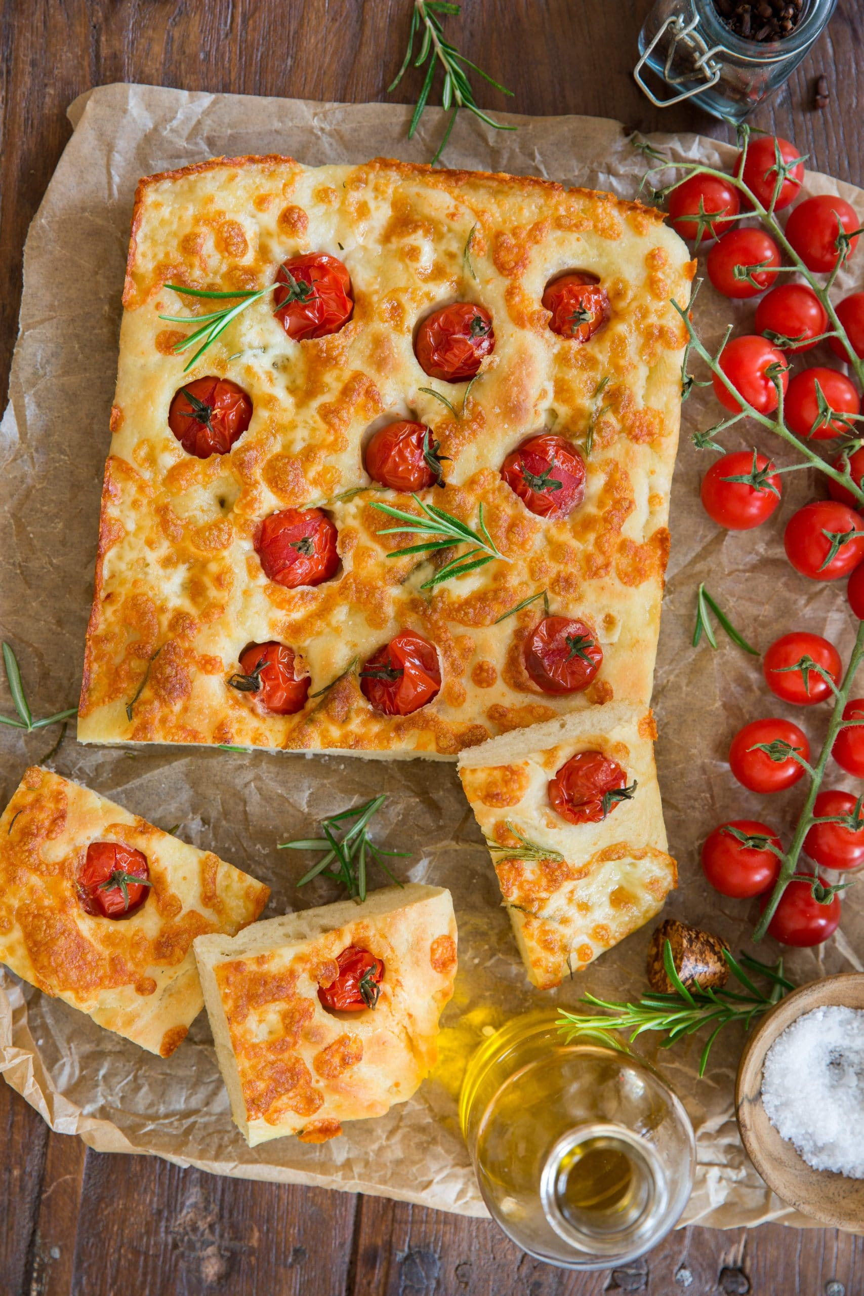 Cherry tomato foccacia and Entremont Special Pizza grated cheese
