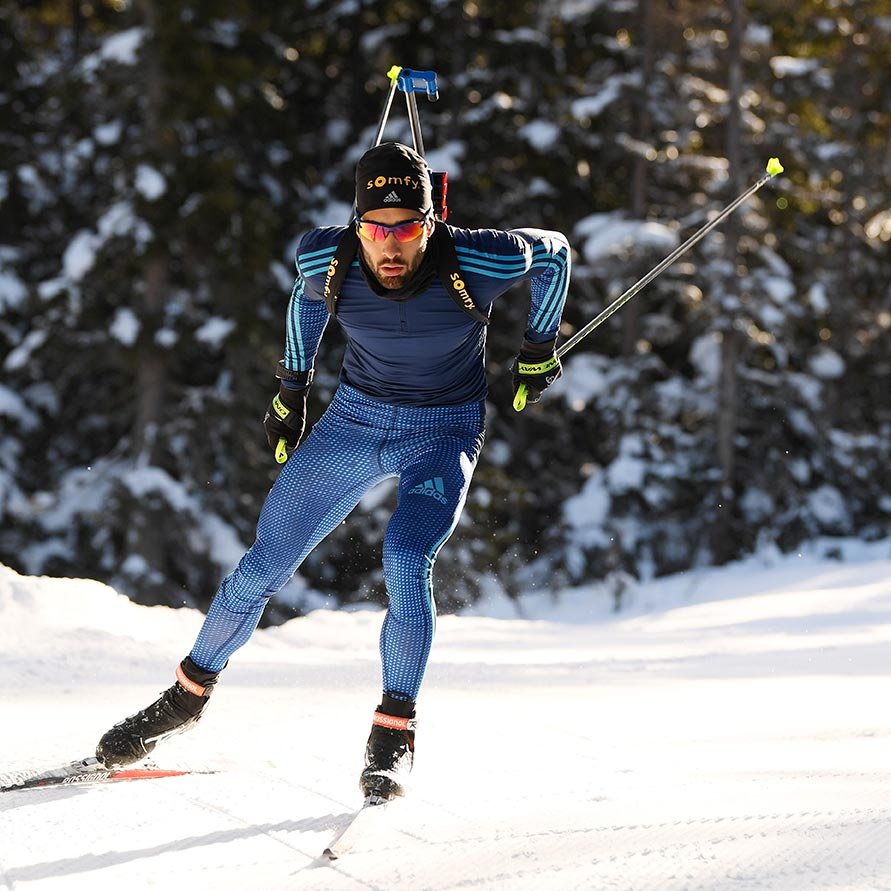 Martin Fourcade lors d'un championnat de biathlon.