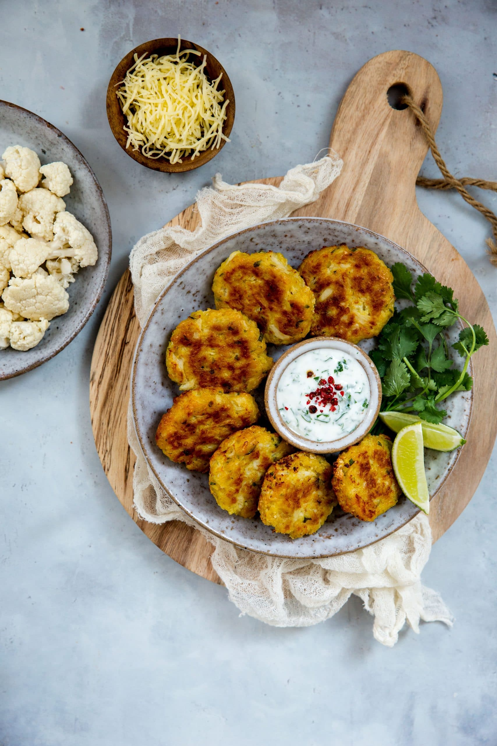 Vegetarian cauliflower and grated Entremont organic Emmental cheese nuggets