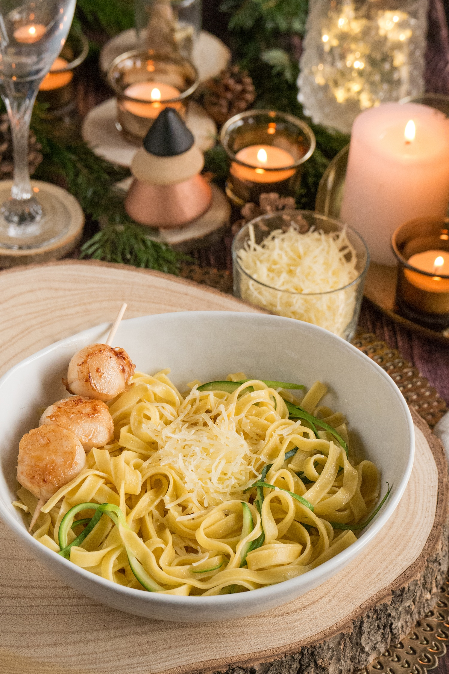 Tagliatelle, courgette ribbons, and seared Saint Jacques scallops