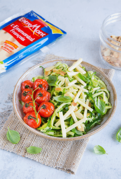 Courgette and Entremont Emmental cheese portion salad