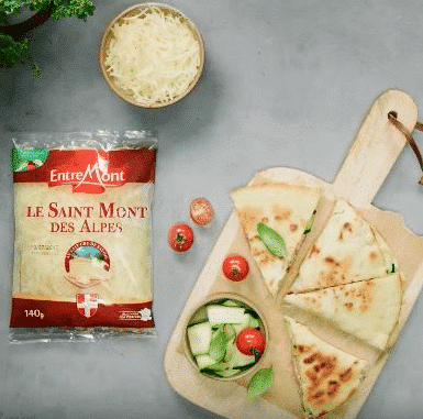 Piadina with grated Entremont Saint Mont des Alpes cheese