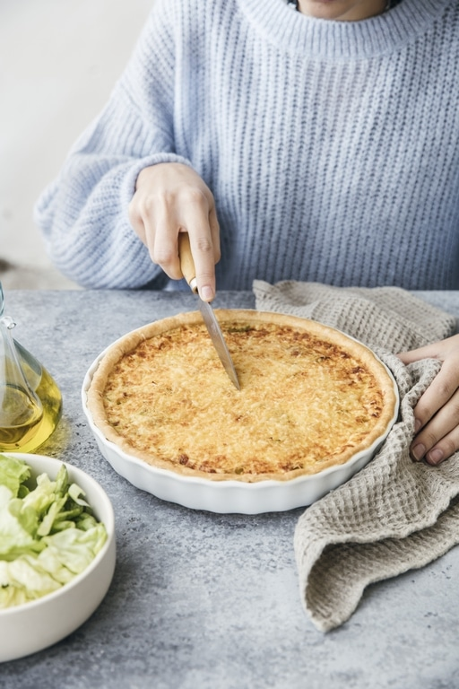 Leek and grated Emmental cheese tart