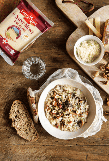 Risotto with Entremont Saint Mont des Alpes cheese and mushrooms