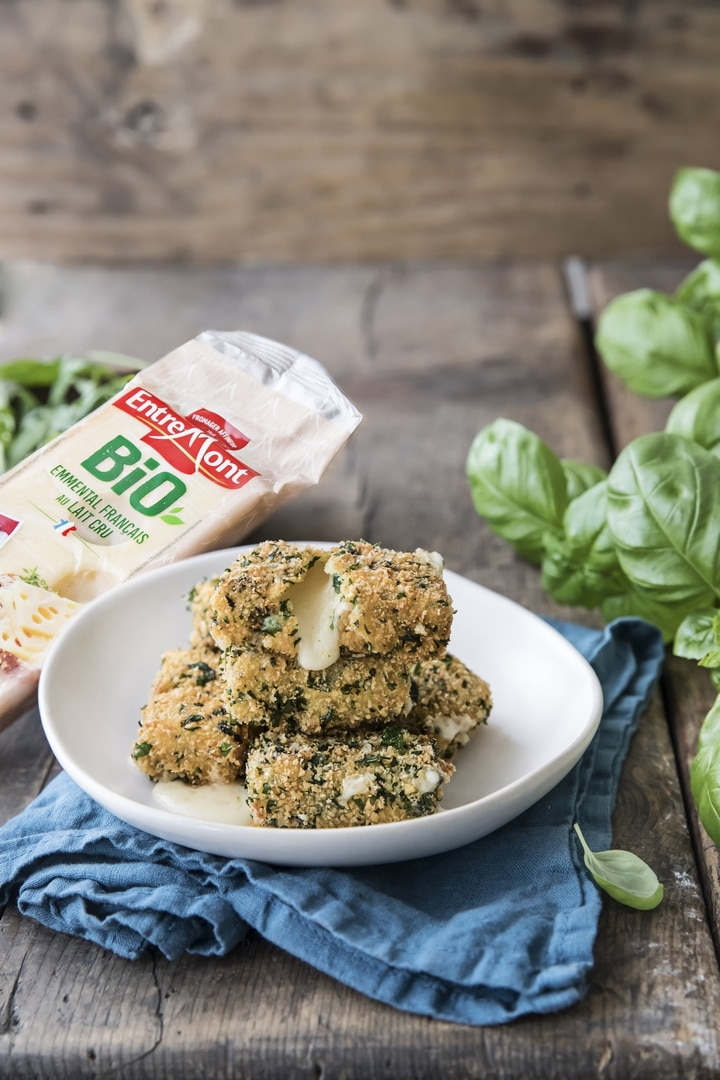 Herb breaded organic Emmental cheese cubes