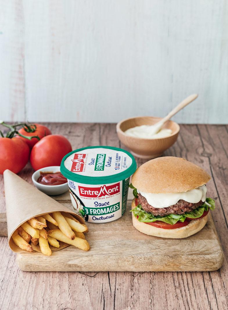 Burger sauce trois fromages Entremont