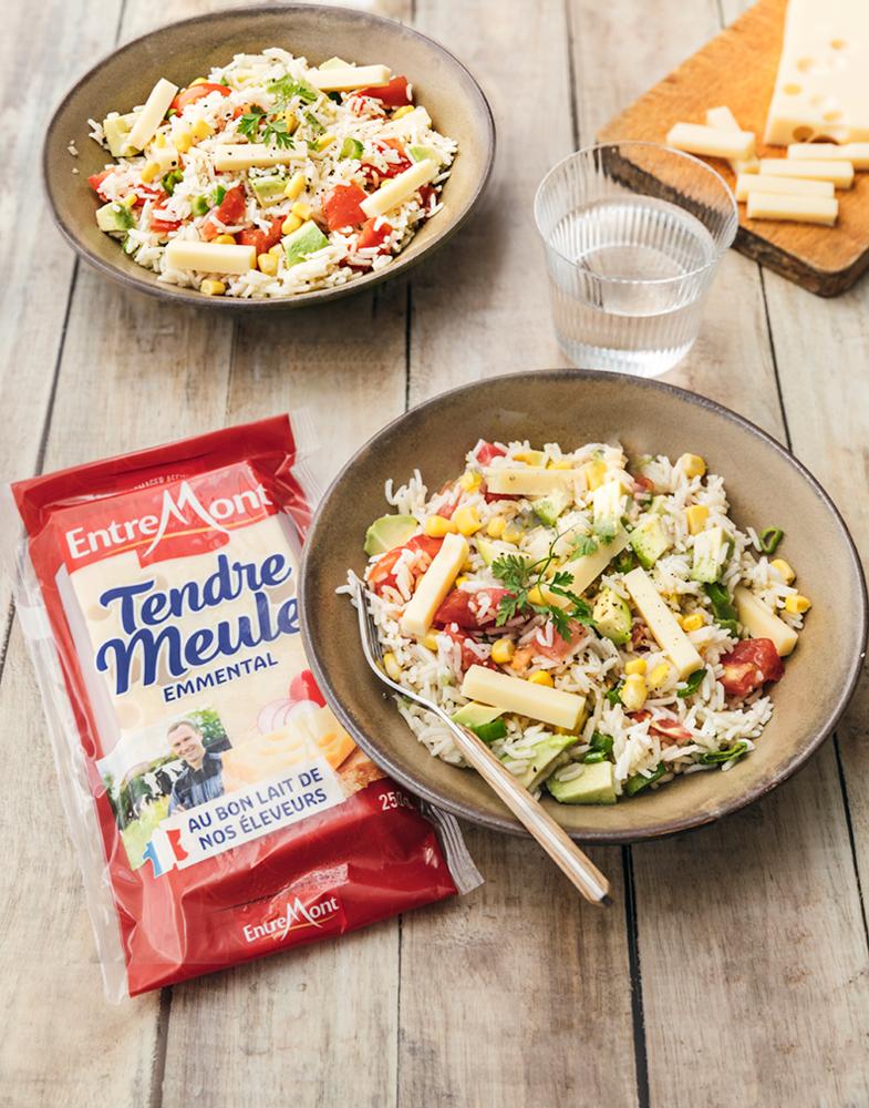 Salade de riz et tendre meule